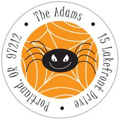 Spooky Spiders Round Address Labels