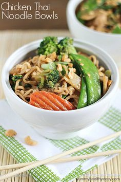 A new spin on ramen noodles - Chicken Thai Noodle Bowls! Ramen noodles and stir-fry veggies tossed in a quick & easy peanut sauce and topped with chopped peanuts and green onions. Bye bye boring ramen!