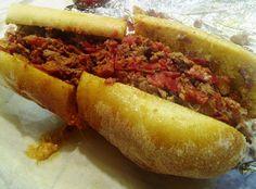 Train Wreck Po Boy - Andouille sausage, steak, salami, cheese, and ...