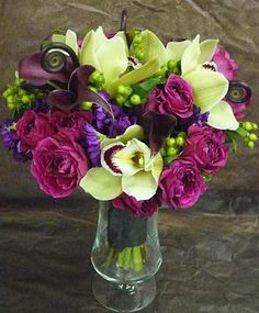 bridal bouquet- green, pink and purple