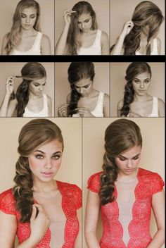 Step 1 : Set hair with setting spray and blow dry. Step 2 : Add a few pieces of extensions for volume and height if needed. Step 3 : Tease hair and brush over to one side. Step 4 : Secure with bobby pins then twist pieces of hair back hiding pins. Step 5 : Twist bangs back towards the pin and secure inward. Step 6 : Braid hair and loosen side so it creates a scallop round shape. Pin the tip inward and under hair.