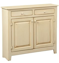 "Console Cabinet Large is handmade by the Amish.  Your piece will be built with Premium Grade Eastern White Pine wood.  You will see some deformities and knots that come naturally with eastern pine. Measures: 41"" W x 36"" H x 11"" D Shown in Buttermilk and features 2 adjustable shelves"