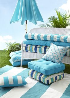 Create the illusion of being at the beach with bright blue accents