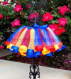 Primary Colors Satin Ribbon Trim Tutu by ThreePrincessBows on Etsy, $48.00