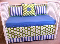 Love crib bedding, ami nurseri, convert crib, kid couch, color, blue, babi, boy nurseries, crib couch