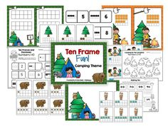 Ten Frame Fun! - Camping Theme Seven Math Centers to help students build early numeracy skills! $