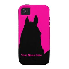 Horse Outline Pink ~ Monogram iPhone 4 Vibe iPhone 4 Case