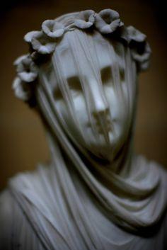 Veiled Vestal by RAFFAELLE MONTI, Marble, circa 1848