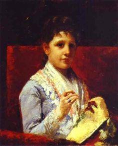 Mary Ellison Embroidering, 1877  Mary Cassatt