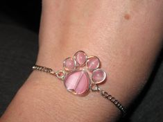 Wire Wrapped Pink Beaded Paw Print Bracelet