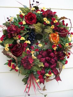 "Pinot Noir et Roses extra large Tuscan vineyard wreath. Measuring 30"" x 28"" x 10"" deep, this stunning wreath will be quite at home on your front door, foyer, over your fireplace, or even in the dining room. $99."