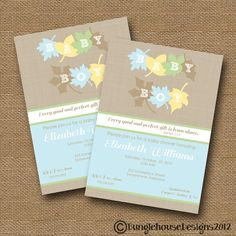 Fall Leaves Baby Shower Invitation -DIY PRINTABLE- Baby Boy Christian Scripture Bible Verse. $12.00, via Etsy.