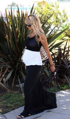Maternity Fashion, Pregnancy Style, Black maxi skirt, white top and black cropped top to fully-embrace the bump!