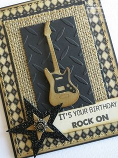 A Paper Melody: MFT's March Teasers Day 2 - Rock On! look at the burlap. #cardformen. For My handmade greeting cards visit me at My Personal blog: http://stampingwithbibiana.blogspot.com/