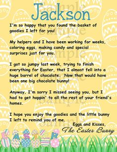 PRINT AT HOME Letter from the Easter Bunny by carouselcandyshoppe, $2.95