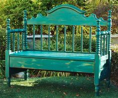 garden bench made from an old bed frame, easy upgrade projects from home bloggers