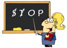"A good trick for when students doing partner or group work and are too loud or get off task. Wrie a short word like ""STOP"" on the board and crossing off letters when the class as a whole becomes noisy or chaotic. When all the letters are gone, stop the activity and have students return to their seats to complete an independent assignment."