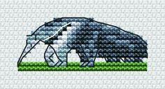 Take a walk on the wild side! Stitch an anteater - FREE cross stitch chart! www.cross-stitching.com