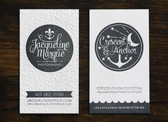 Gray White Edge Painted Letterpress Business Cards Crescent & Anchor Letterpress Business Cards