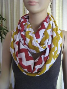 49ers Chiefs Redskins Team Colors Red and Gold Chevron Infinity Scarves by ChevronScarf on Etsy