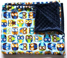 Baby Boy Owl Minky Blanket Double Minky on Etsy, $22.50