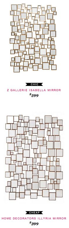Z Gallerie Isabella Mirror $599  -vs-  Home Decorators Illyria Mirror $399