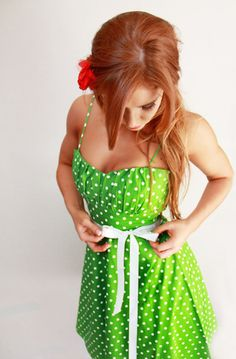 Pinup Green Polka Dot Dress Lime Green Sun Dress 90% cotton 10% Spandex Comes with White Ribbon Belt and White Tulle Underneath 29.99