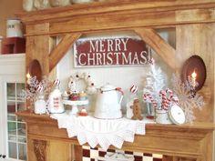 christma display, christmas kitchen, mantel, christmas displays, christma decor, christma kitchen, farmhouse kitchens, farmhous christma, mantl