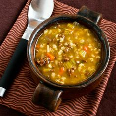 Recipe for Comforting Ground Beef and Barley Soup; if it's freezing cold where you are, this soup can help! [from Kalyn's Kitchen] #LowGlycemic