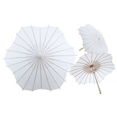 "32"" White Scalloped Shaped Paper Parasol"