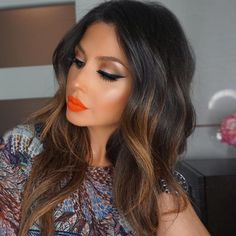 Orange lipstick look