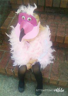 $5 flamingo costume and free printable. So stinking cute!