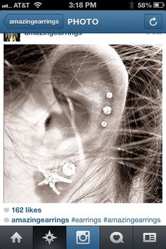ear piercings | obsessed with triple piercings. I really want this but I am afraid it is going to hurt so badly.