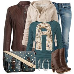 Brown & teal fall outfit