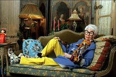 "Iris Apfel - ""(My look is) either very baroque or very Zen – everything in between makes me itch.  I don't follow trends or the hottest fashion. I buy what I like and my tastes are quite catholic – haute couture to street fashion. Pieces that are Zen-simple or madly baroque. I love ethnic as well as contemporary. I'm fond of serious and adore amusing. I try to make all these things work together."""