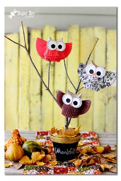 Gold-Rimmed Chalkboard Pot centerpiece with cupcake liner owls