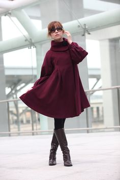 15% Off SALE Wine RED Coat Cashmere Coat Big Sweep Long Sleeve Wool Winter Coat Jacket for Women - NC200. $129.99, via Etsy.