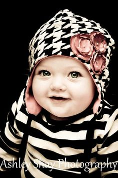 Houndstooth hat with striped shirt