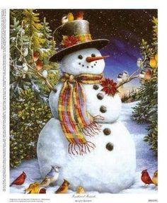 I love snowmen holiday, snow peopl, friends, feather friend, snowmen, snowman, birds, jigsaw puzzles, christma