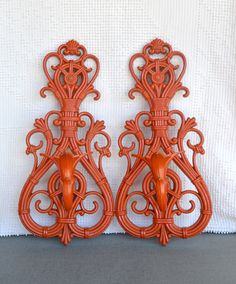 Fire Orange Wall Sconces...Pair of Upcycled Painted by BeautiSHE, $28.00