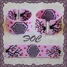 Free pattern for peyot bracelet Pink Spring