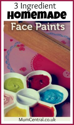 HOW TO MAKE THE FACEPAINTS:  Mix together two heaped teaspoons of cornflour/cornstarch with one teaspoon of baby lotion. Add a few drops of food colouring and mix together well until you have reached the desired consistency. For a thicker paint add more cornflour/cornstarch and to make it runnier add more baby lotion (alternatively a few drops of water could be used).