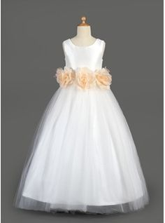 A-Line/Princess Scoop Neck Floor-Length Taffeta Tulle Flower Girl Dress With Sash Flower(s) from JJ's House, Bridal & bridal accessories.  www.jjshouse.com