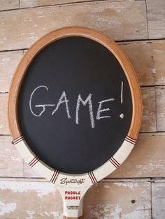 Fun tennis racquet chalkboard