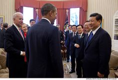 Feb. 14, 2012: President Obama and Vice President Biden talk with Vice President Xi Jinping of the People's Republic of China and members of the Chinese delegation in the Oval Office.