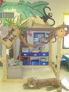 reading hut in jungle-themed classroom