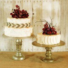 Rustic Pedestal Cake Stand rustic pedest, cake idea, cakes, bride guid, pedest cake, brides, cake stands, pedestal, green bride