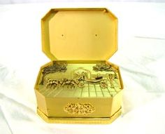 Horse Carriage Automaton Brass Music Box Signed