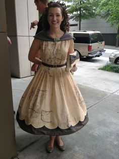 It's a dress made of a map of Middle Earth with Elvish along the bottom.