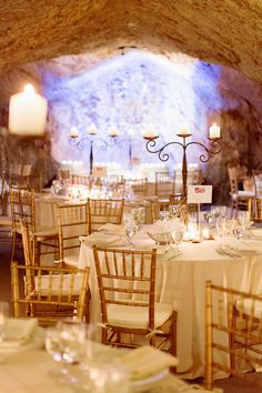 Wine Cave Wedding Reception - stunning! See more of the wedding on SMP: http://www.StyleMePretty.com/little-black-book-blog/2014/02/25/garden-wedding-at-hans-fahden-vineyards/  Elisabeth Millay Photography